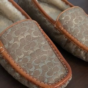 Gold and Tan Leather Shearling Coach Slippers
